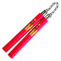Red Bruce Lee Foam Padded Nunchuck with Chain