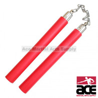 "12"" Foam Plain Nunchaku With Metal Chain Link (Red)"