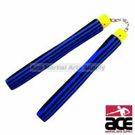 "9.75"" Foam Nunchaku With Chain Link (Blue/Black Stripes)"