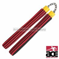 "9.75"" Foam Nunchaku With Chain Link (Red/Black Stripes)"