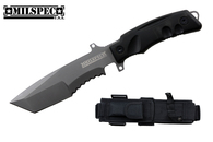 "11"" Tanto Blade Half Serrated Titanium Hunting Knife W/ Sharpening Stone And Sheath"