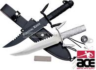 "14"" Black Tanto Blade Survival Knife with Sheath and Survival Kit"