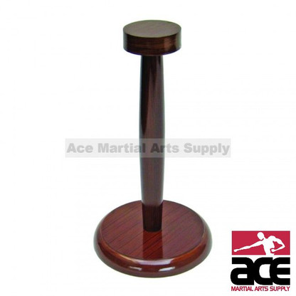 "Helmet display stand. Wood with brown finish. 11"" Height. Circular base and platform. Table top display"