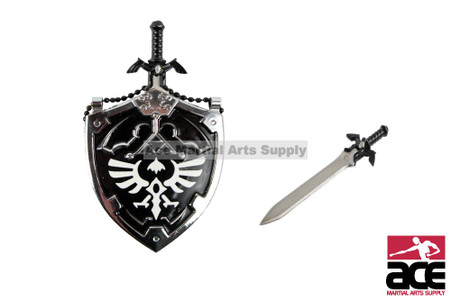 "Miniature Zelda sword & shield necklace. Removable sword. 25"" chain"