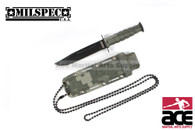 "6"" Drop Point Neck Knife With Sheath (Green Camo)"