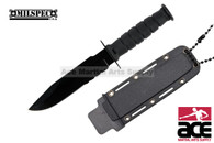 "6"" Serrated Blade Black Neck Knife With Sheath"