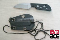 Chrome With Black Handle Tactical Neck Knife With Sheath
