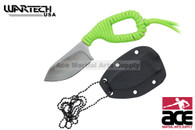 Silver Blade Neon Green Cord Wrapped Neck Knife With Sheath