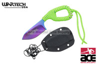 Rainbow Blade Neon Green Cord Wrapped Neck Knife With Sheath