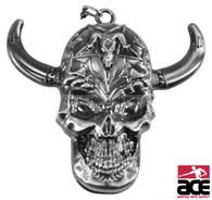 Skull With Horns Neck Knife Chrome