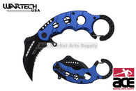 """6"""" Assisted open Karambit knife with blue handle, key ring"""
