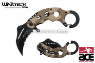 """6"""" Assisted open Karambit knife with camo handle, key ring"""