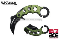 """6"""" Assisted open Karambit knife with green handle, key ring"""