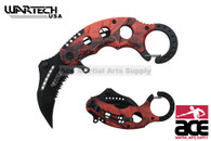 "6"" Assisted open Karambit knife with OR camo handle, key rin"