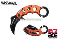 "6"" Assisted open Karambit knife with orange handle, key ring"