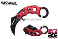 "6"" Assisted open Karambit knife with red handle, key ring"
