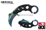 "6"" Assisted open Karambit knife with RW camo handle, key rin"