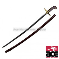 "35.5"" Red Calvary Sword With Gold Accent And Scabbard"