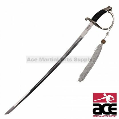 Replica CSA cavalry saber. Sharpened 440 stainless steel blade. Steel scabbard w/ black leather cover.  Leather handle w/ steel twine, guard, and pommel.