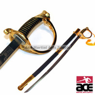 Replica CSA calvary saber. Sharpened 440 stainless steel blade. Steel scabbard w/  black leather cover and gold color steel end and throat.  Comfortable handle w/ leather and twine