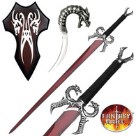 Dragons Breath Fire Medieval Fantasy Sword w/ Plaque New