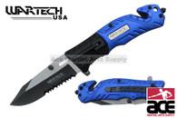 2-Toned Wartech Rescue Knife w/ Serrated Blade (Black/Blue)