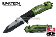 2-Toned Wartech Rescue Knife w/ Serrated Blade (Black/Green)