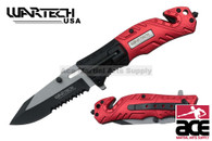 2-Toned Wartech Rescue Knife w/ Serrated Blade (Black/Red)