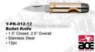 pistol Bullet Knife BRASS PLATED CAST METAL CASE