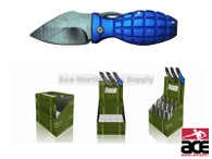 12 Piece Mini Grenade Pocket Knives With Display Case