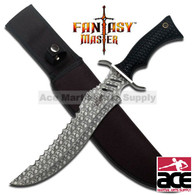 "16 1/2"" Overall in length Fantasy Bowie Knife with Skulls on Handle and Blade"