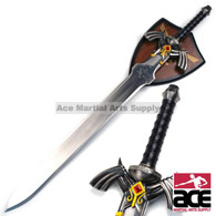 "Stainless steel replica Zelda sword. 38"" Total length. Features decorative, wall-mountable display plaque."