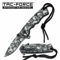 "Spring Assist Knife 4.6"" Closed 3.25"" Grey Skull Stainless Steel Blade Grey Skull Stainless Steel Handle With Lanyard Includes Pocket Clip"