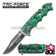 "Tac Force TF-809GN 8.25"" Green Skulls Spring Assisted Folding Knife"