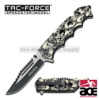 "Tac Force TF-809GY 8.25"" Grey Skulls Spring Assisted Folding Knife"