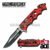 "Tac Force TF-809RD 8.25"" Red Skulls Spring Assisted Folding Knife"