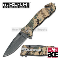 "Spring Assisted Knife 4.5"" Closed 3.25"" Stone Wash Finished Black Stainless Steel Blade Digital Desert Marines Camo Aluminum Handle With Seat Belt Cutter"