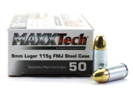 Surplus Ammo | Surplusammo.com 9mm Luger 115 Grain FMJ MAXXTech Steel Cased PTG9MMB