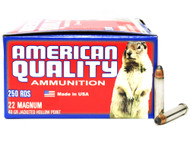 Surplusammo.com | Surplus Ammo 22 Magnum 40 Grain JHP Nickel-Plated-Brass-Casing AMERICAN QUALITY - 500 Rounds Bulk N22Mag40HPVP500