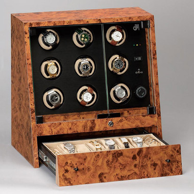 JFAE9 Collector Nine-Watch Winder (open drawer)