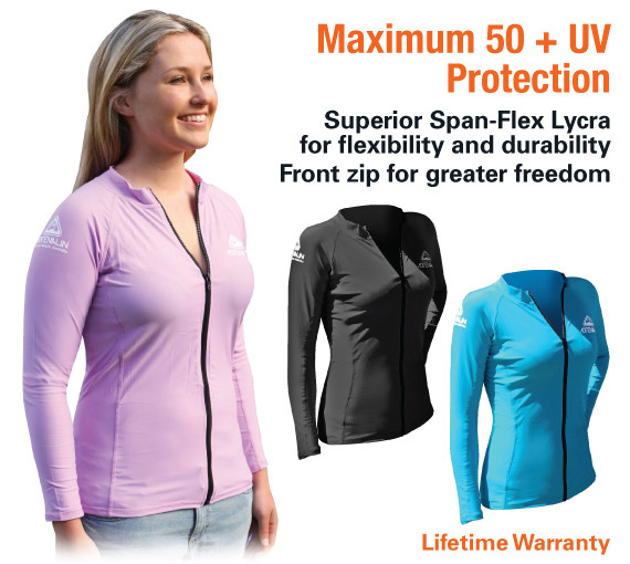 db270e5a61e18 ... Ladies Front Zip Long Sleeve Lycra Top. Image 1