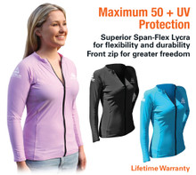 Ladies Front Zip Long Sleeve Lycra Top