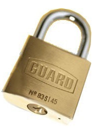"Guard Brass Padlock 1-3/4"" (45mm) BODY 1"" SHACKLE"
