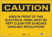 Master Lock S5050 Area In Front Of This Electrical Panel Must Be Kept Clear For 36 Inches OSHA-NEC Regulations Caution Sign