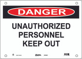 Master Lock S19400  Danger Unauthorized Personnel Keep Out Danger Sign