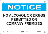 Master Lock S22150  Notice No Alcohol Or Drugs Permitted On Company Premises Notice Sign