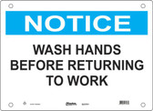 Master Lock S23700  Notice Wash Hands Before Returning To Work Notice Sign