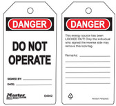 Master Lock S4002   Danger Do Not Operate Tag