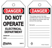 Master Lock S4015 Do Not Operate Tag Electrical Department Tag