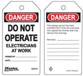 Master Lock S4016 Do Not Operate Tag Electricans at Work Tag